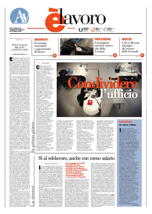 Articolo sul coworking e intervista a Massimo Carraro - L'Avvenire 10/6/09.
